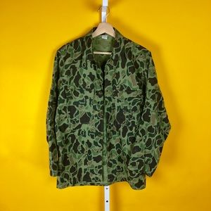 Rare Unique Army Green Camo Long Sleeve Button Up